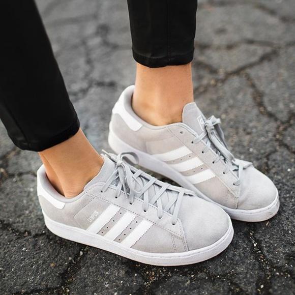 adidas Shoes - Adidas Light Gray Suede Campus Shoes 4a3a9589e
